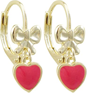 Ivy and Max Gold Finish White Enamel Flower Girls Dangle Earrings