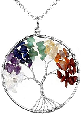 Natural Gemstone Crystal Healing Chakra Stone Tree of Life Pendant