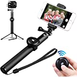Fxexblin Selfie Stick Tripod with Bluetooth Remote, Extra Cell Phone Stand, Portable Monopod for iPhone X, 8, 7/7 Plus/6 Plus/6S Plus, Samsung Galaxy Series