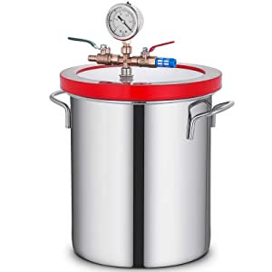 Bestauto Vacuum Chamber 3 Gallon Vacuum Degassing Chamber Glass Lid Stainless Steel Degassing Chamber 12L Silicones for Gas Extraction and Protect Food