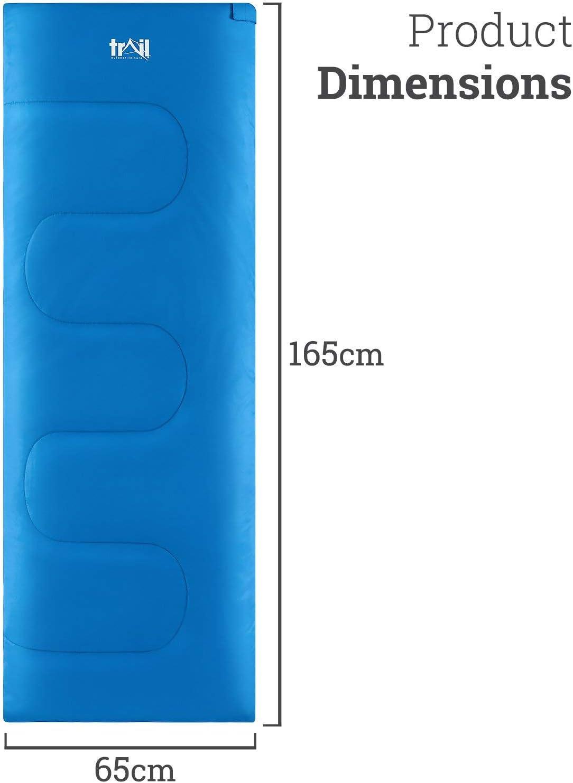 Senderismo y Actividades al Aire Libre de 200 g//m2 Trail Saco de Dormir Individual Ni/ño y Ni/ña Acampada 160 cm x 65 cm 2 Estaciones Camping Bolsa Ligera de Compresi/ón