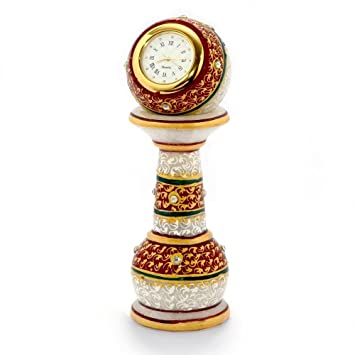 GREENTOUCH CRAFTS Crafts Gold Painted Meenakari Work Marble Pillar Watch, 6-inch (Multicolour)