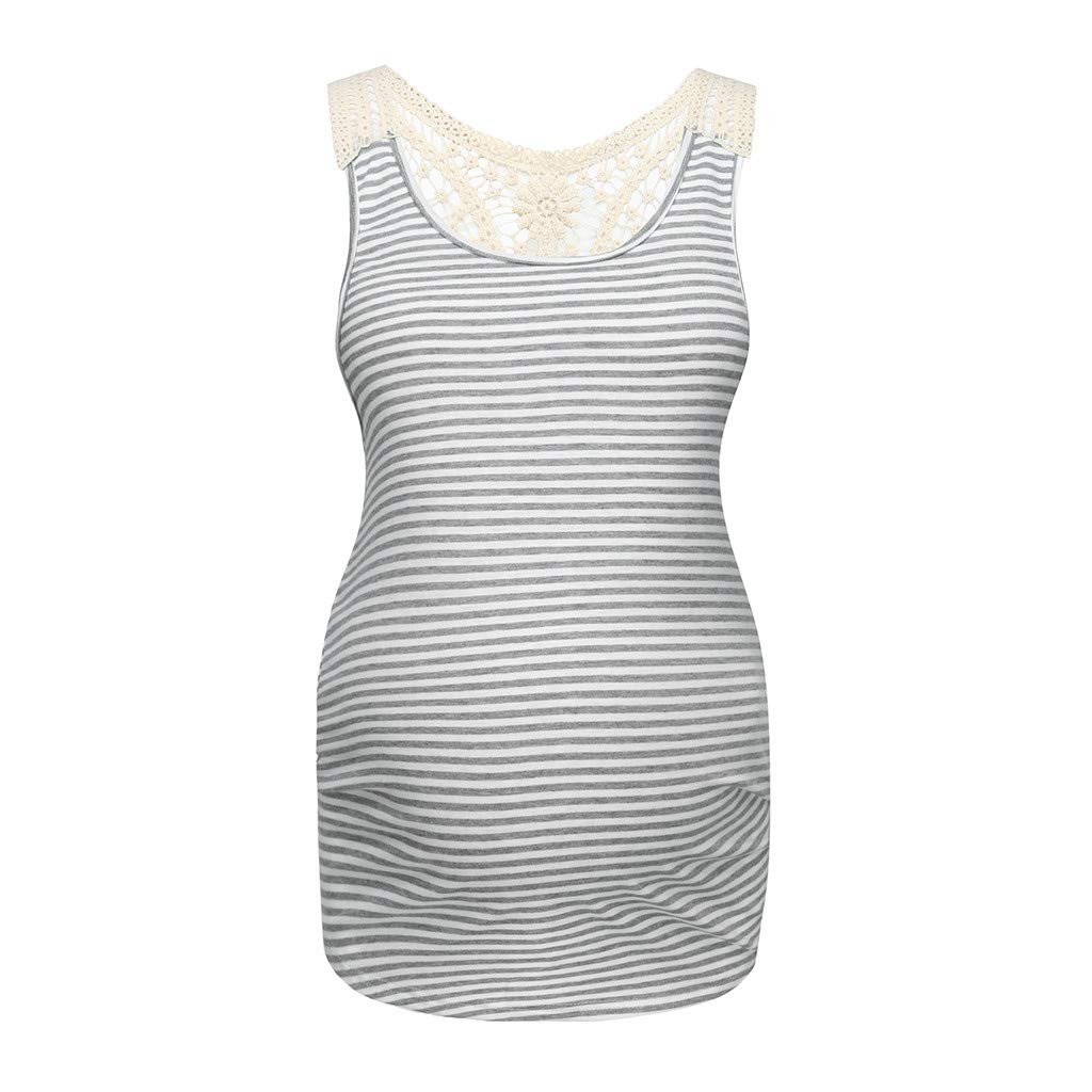 Toponly Women's Striped Maternity Nursing Lace Mother Tank Tops Sleeveless Breastfeeding Floral Print Vest Gray