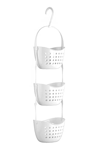 White Coated Rust Free Metal Bath Shower Caddy Tidy Storage ...