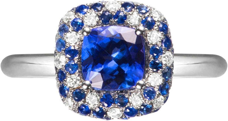 Beydodo Anillo Oro Blanco Mujer 18K Anillo Mujer Cuadrado Tanzanita Azul 1.368ct Diamante 0.328ct Anillo Plata Azul