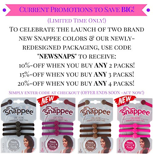 Premium No Crease Snap-Off Hair Ties By Snappee - Easy Ouchless Removal  with USA Hand-Made Non-Elastic f904d0ac6db