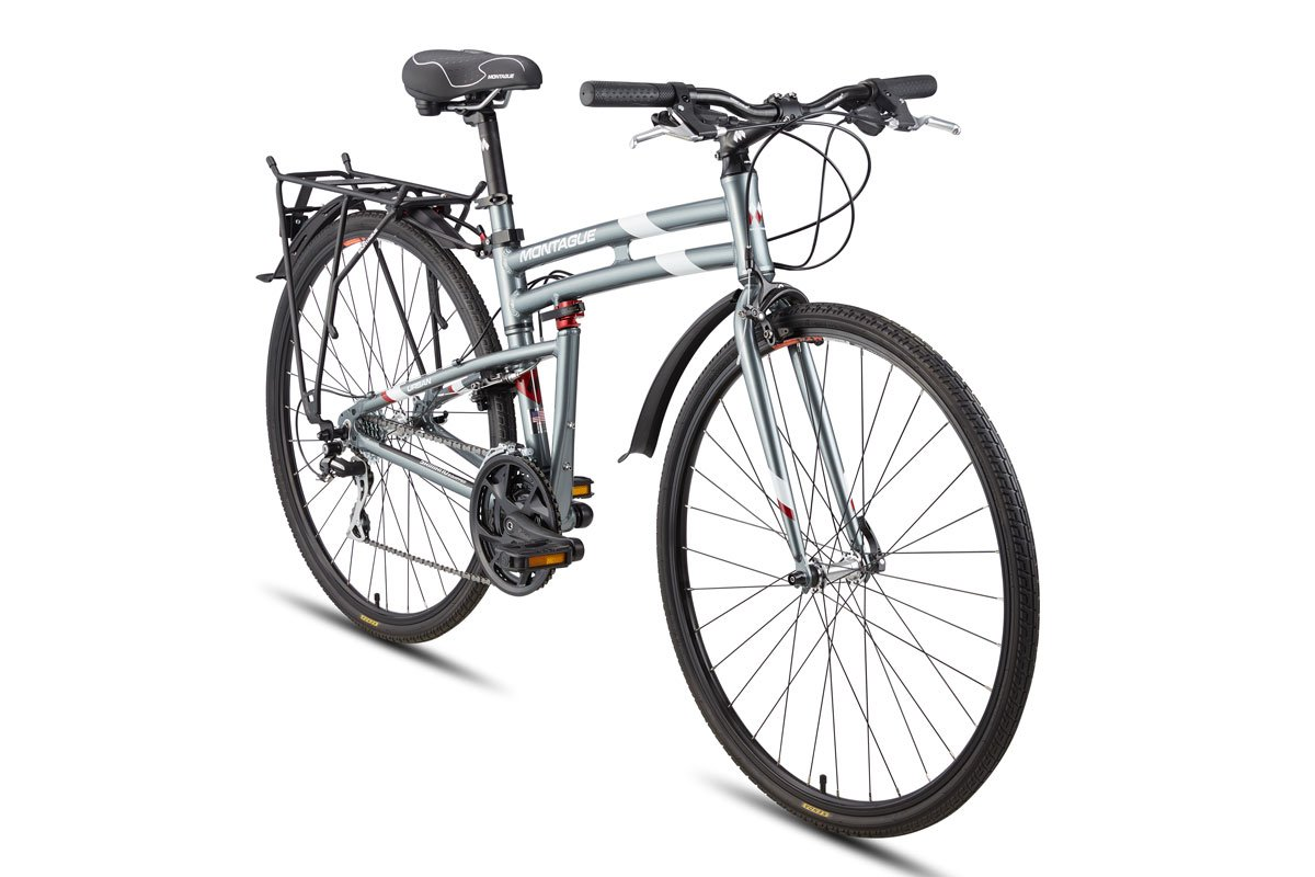 Montague Urban Folding 700c Pavement Hybrid Bike 21-Speed Bike with 35mm Tires and a Rear Rack, Folding Bikes for Adults – Smoke Silver – Available in 3 Sizes, 17 Inches, 19 Inches, 21 Inches