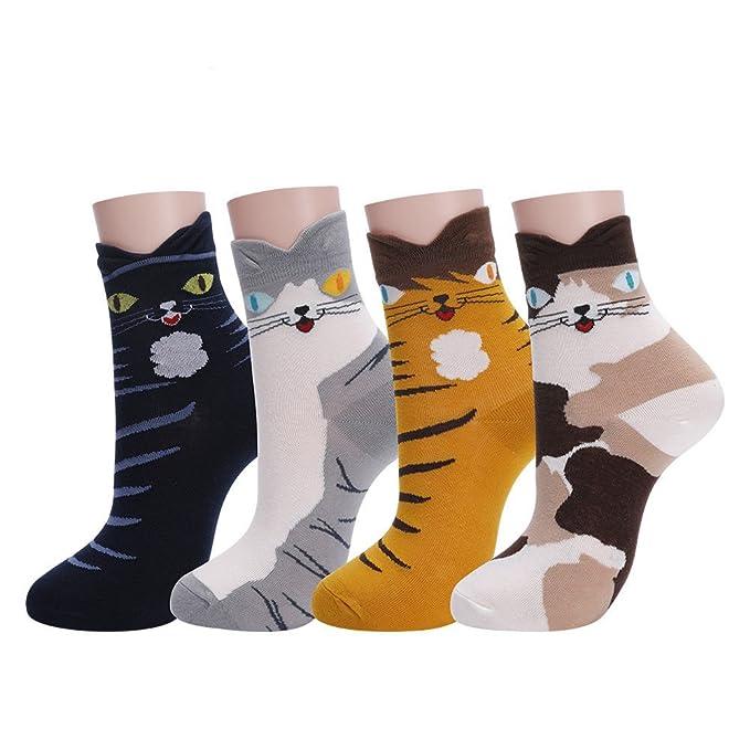 fa99c08cbebec Calcetines Mujer Calcetines de algodón con divertido diseño de dibujos de  animales-Paquete de 4