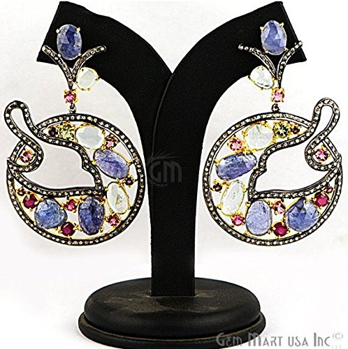 Estate Pave Earrings - Victorian Estate Earring, 34.67 cts Multi Stone With 1.80 cts of Diamond as Accent Stone (DR-12189)