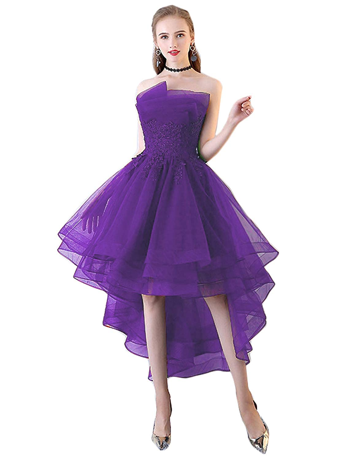 Lavender CIRCLEWLD Strapless Hi Low Homecoming Prom Dresses Multilayered Evening Party Gowns H82