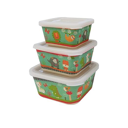3 Tupper bambú infantil,ecologico sin BPA,Fiambrera desayuno,Ideal para bebés y niños-animalies verde