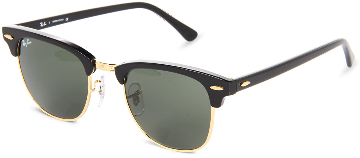 Amazon.com  Ray-Ban Clubmaster Sunglasses - Ebony Arista Green  Shoes 1040170153