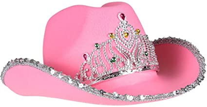 274edae6368 Amazon.com  Pink Tiara Rhinestone Cowgirl Hat Cowboy  Kitchen   Dining