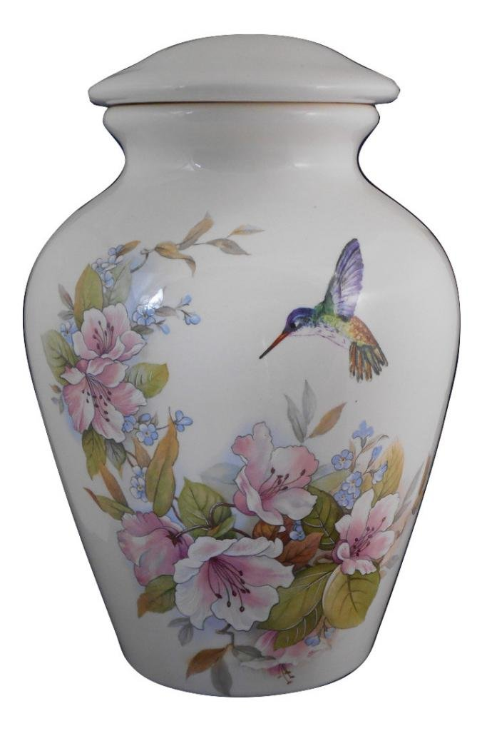 Flower with Hummingbird Urn- Cremation urn or keepsake for ashes - Hand Made Pottery by Skyline Arts