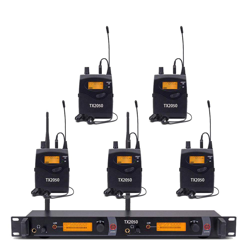 UHF Wireless In Ear Monitor System,Top Quality Pro Audio SR2050 Type 2 Channel 100 Frequency with 5 receivers For Stage & Studio