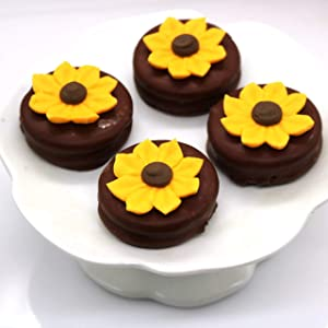 Set of 24 Royal Icing Edible Sunflower Decorations - Cupcake Topper by Sugar Deco