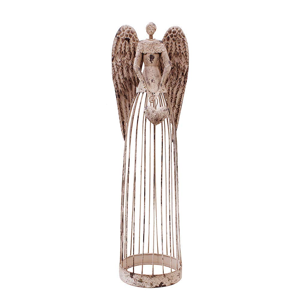 "Attraction Design EN1016 Antiqued Metal Garden Angel, 32"" Height"