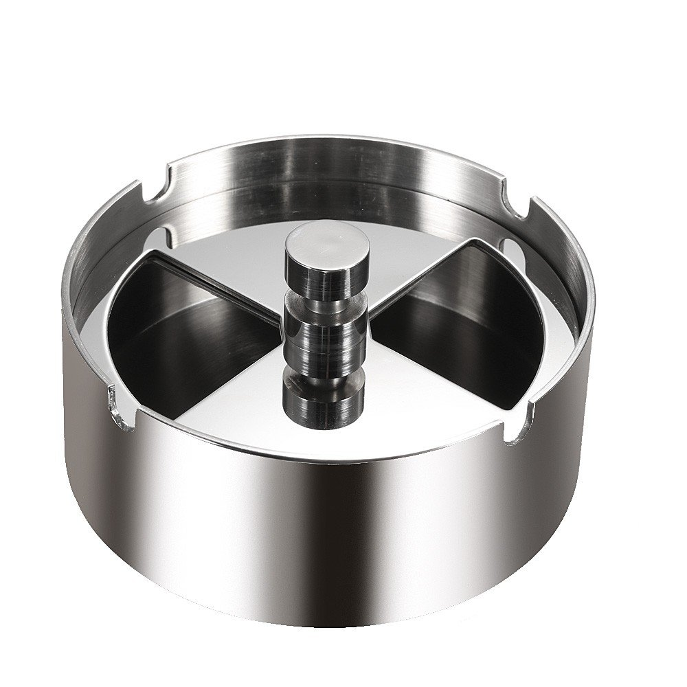K-Steel High-grade Stainless Steel Round Revolving Ashtray with Spinning Tray Wind-proof Ash-tray for Hotel