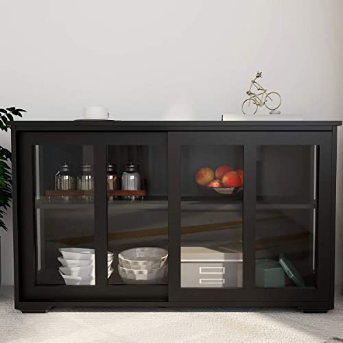 Kitchen Storage Cabinet RASOO Antique Stackable Black Buffet Storage Sideboard Adjustable Shelf Inside Credenza Cupboard