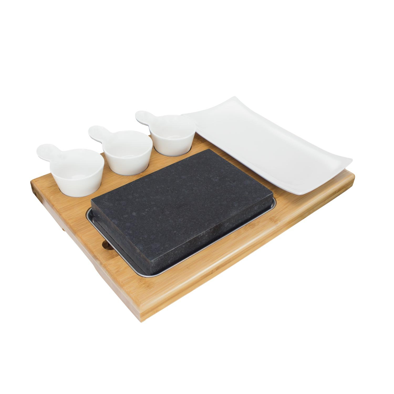 Zelancio Premium Lava Hot Stone Cooking Platter Hot and Cold Lava Rock Cooking Stone Set - Hibachi Grilling Stone