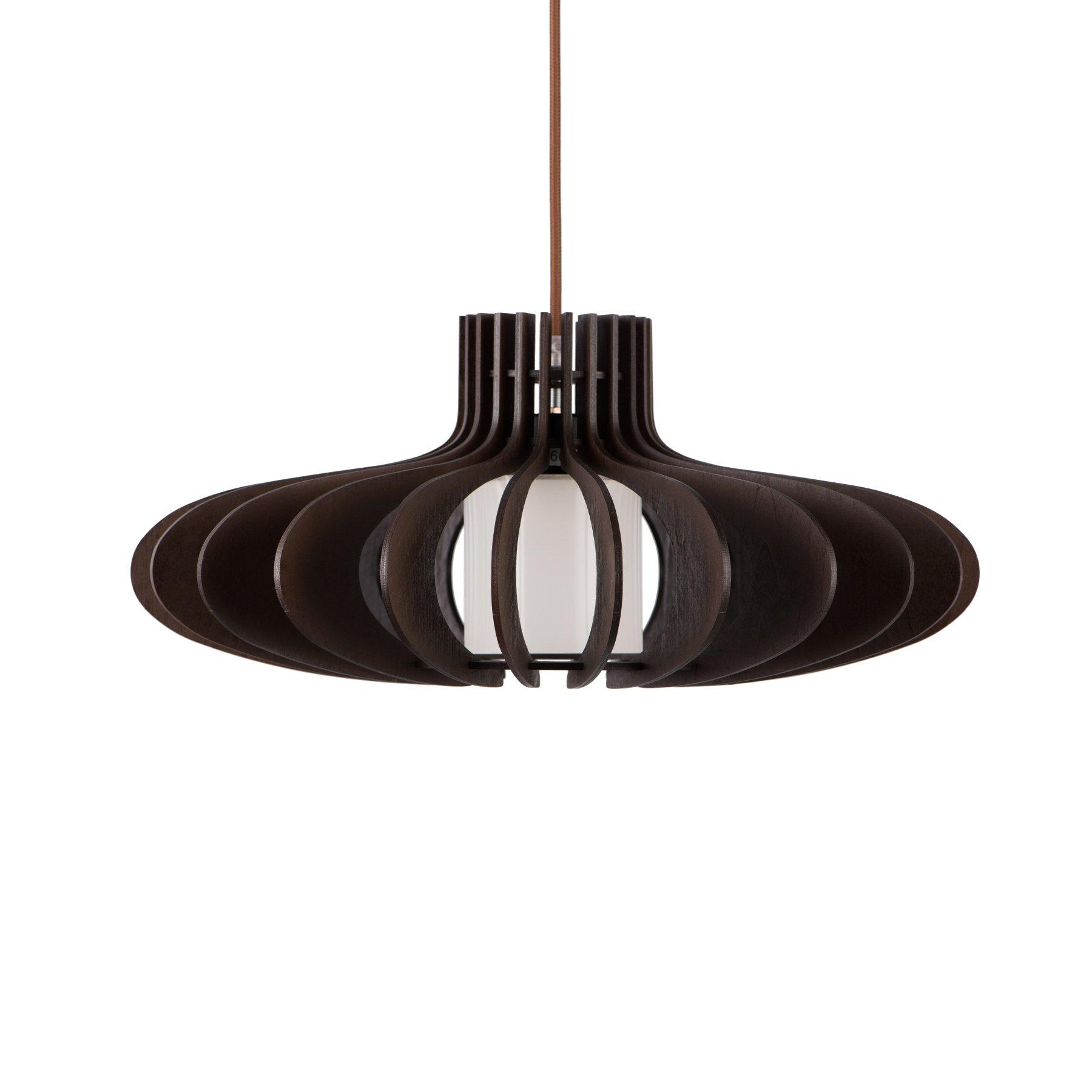 MAYKKE Oban Medium Wooden Pendant Lamp   Lantern Style with Dark Brown Rings, Hanging Light with Adjustable Cord   Walnut Wood Finish, MDB1040201 by Maykke (Image #3)