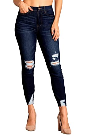 dff0d124912 Amazon.com: Celebrity Pink Women's High Rise Distressed Slit Hem Skinny  Jeans 1 Pamela CJ40307SS: Clothing