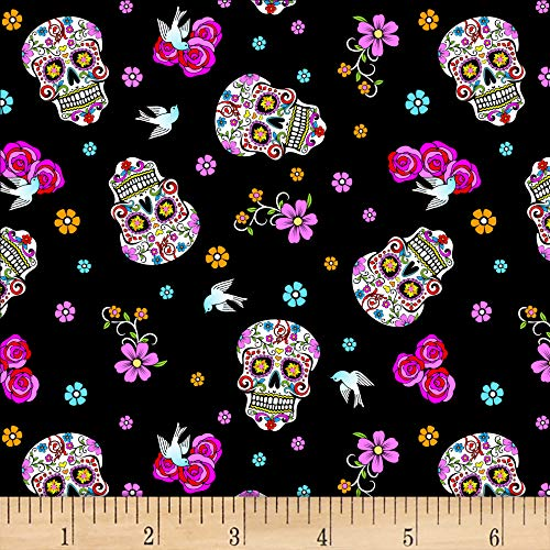 Day Of The Dead W/Glitter Black/Multi Fabric by