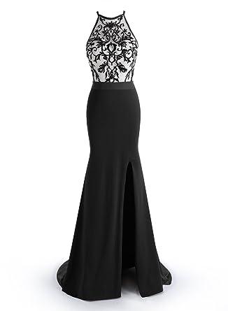 384a8a255547 ALAGIRLS Sexy Mermaid Prom Dress Embroidery Long Evening Dress Split Black  US2