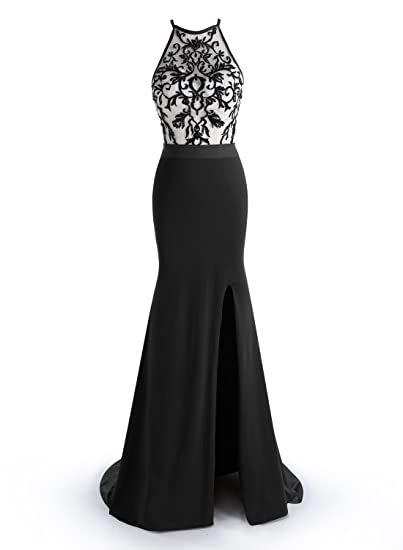 ALAGIRLS Mermaid Prom Dresses Embroidery Split Long Evening Gowns with Train Black 6