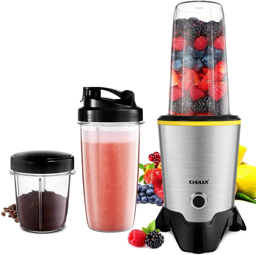 CHULUX Smoothie Bullet Blender Maker, 1000W High Speed Coffee Grinder with Blending and Grinding Blades, Tritan 35 15 OZ Travel Bottles for Shakes, Frozen Fruit, Baby Food,Spices,Low Noise