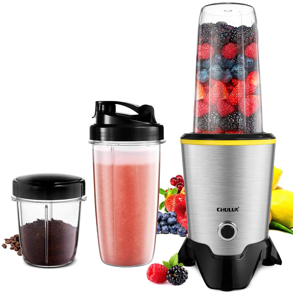 CHULUX Smoothie Bullet Blender Maker, 1000W High Speed Coffee Grinder with Blending and Grinding Blades, Tritan 35+15 OZ Travel Bottles for Shakes, Frozen Fruit, Baby Food,Spices,Low Noise by CHULUX