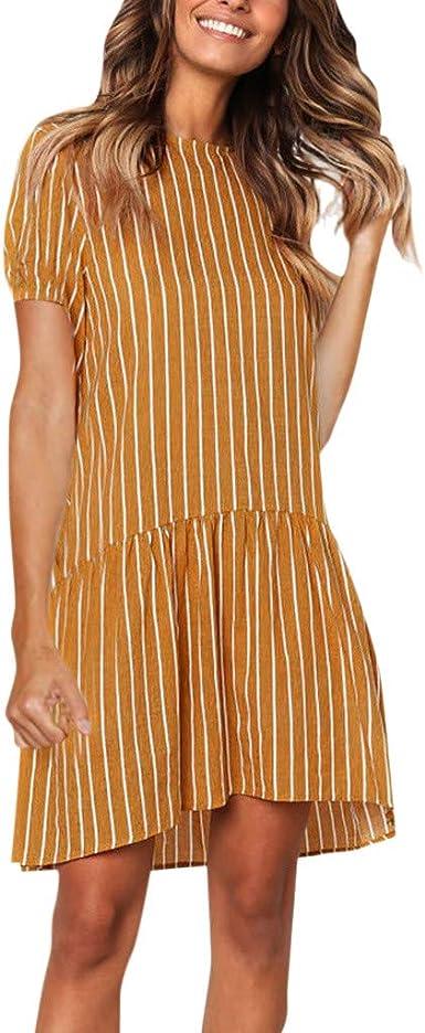 CUTUDE - Vestido de Verano para Mujer, de Manga Corta, Vestido ...