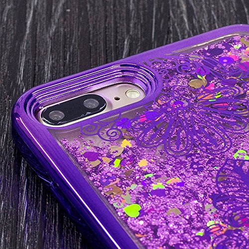 Vandot Funda para iPhone 7 Plus Brillante Caso Shell, Ultrafino Fluido Líquido Cristal Caso Bling Arena Movediza Patrón TPU Silicona Cubierta de la Caja del Teléfono para iPhone 7 Plus 5.5, Diseño de  CH LS 09