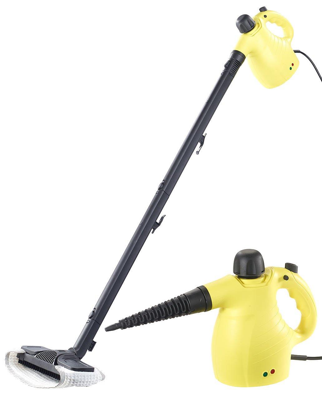 Sichler Haushaltsgeräte Dampfgerät: 2in1-Hand-Dampfreiniger, Dampfmopp & -Besen, 13-tlg. Zubehör, 1.050W (Handdampfgerät) 13-tlg. Zubehör 1.050W (Handdampfgerät)