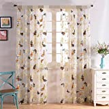 WPKIRA Window Treatments Colorful Printed Butterfly Voile Window Sheer Curtain Panels For Living Room Decorations Room Divider Tulle Window Screens Rod Pocket Top 1 Panel W75 x L96 inch