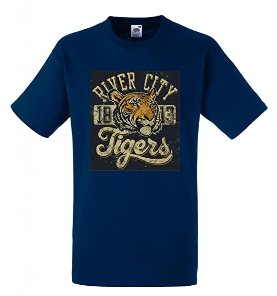 River City Tigers Equipo de Deportes 1813 100% algodón Fruit of the Loom camiseta personalizadas impresas de Crazy ropa Azul azul marino X-Large: Amazon.es: ...