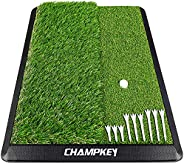 Champkey Dual-Turf Golf Hitting Mat | Come with 9 Golf Tees & 1 Rubber Tee | Heavy Duty Rubber Backing Gol