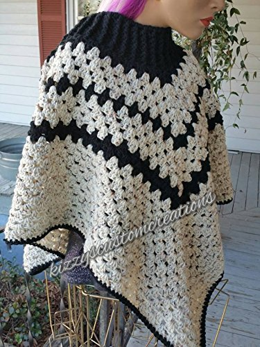 - Crochet Poncho With Ribbed Neck Black and Cream