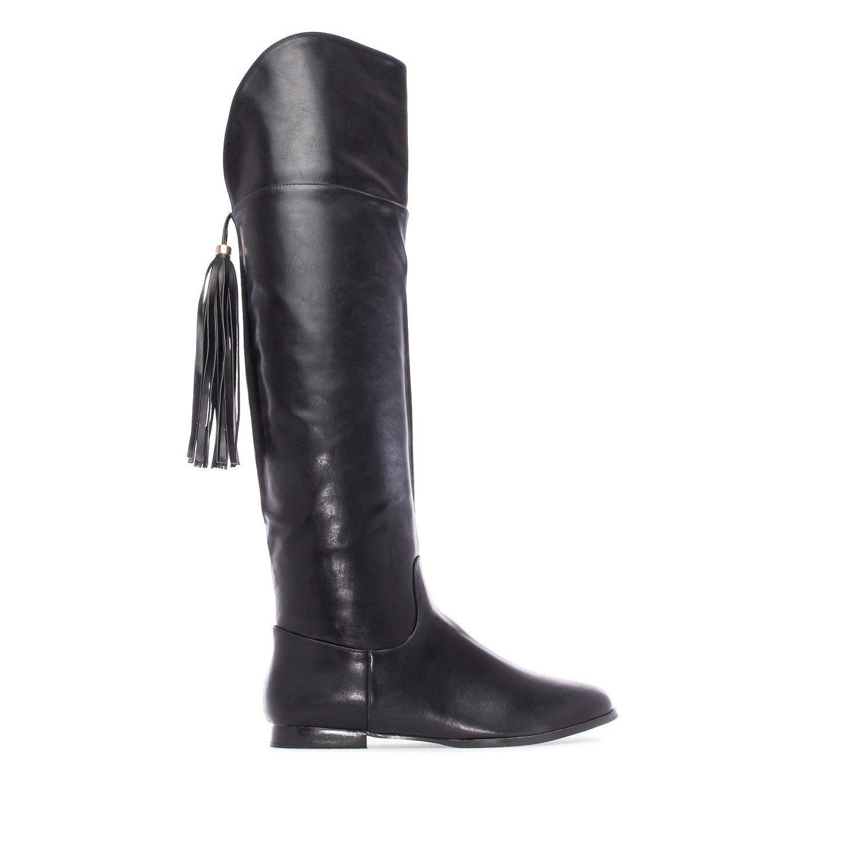 Andres Machado Damen Overknee Stiefel - Schwarz Schwarz Schwarz Schuhe in Übergrößen d82739