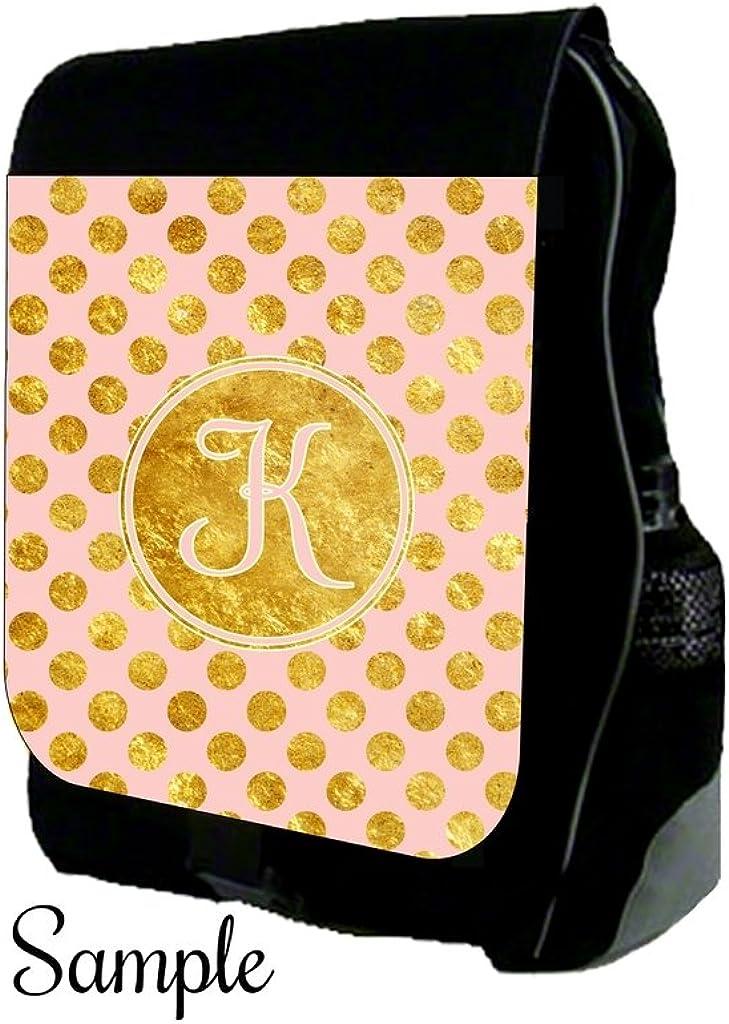 K-Customizable School BackpackGold Polka Dots Print Design