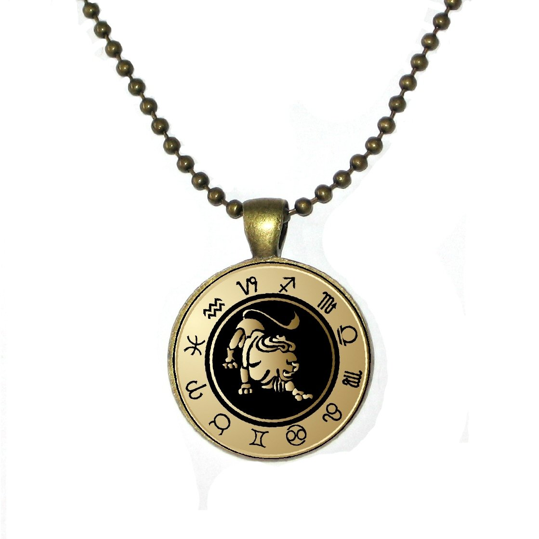 Black and Gold Zodiac Leo on Round Brass Pendant w// 24 Brass Ball Chain