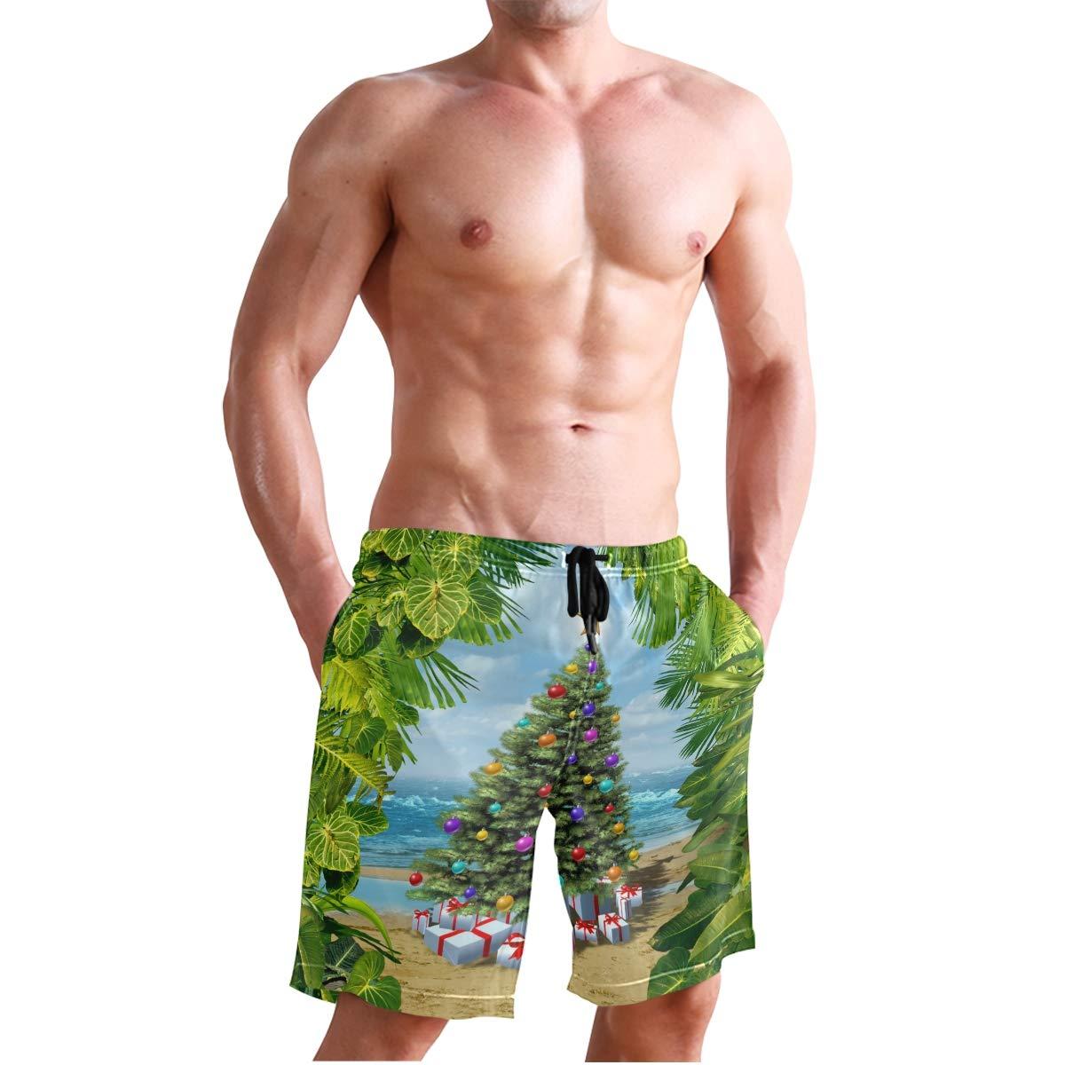 Mens Swim Trunks Christmas Tree Beach Tropical Leaf Quick Dry Beach Board Short with Mesh Lining