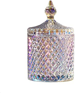 300ml/10oz Candy Dishes Crystal Glass Candy Dish with Crystal Lid Crystal Diamond Faceted Jar Food Storage Organization Set Cookie Tin Biscuit Barrel Decorative Candy Jar Sugar Bowl