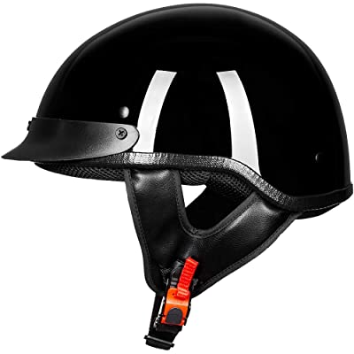 ILM Motorcycle Half Face Helmet DOT Approved Bike Cruiser ATV (Gloss Black, M): Sports & Outdoors