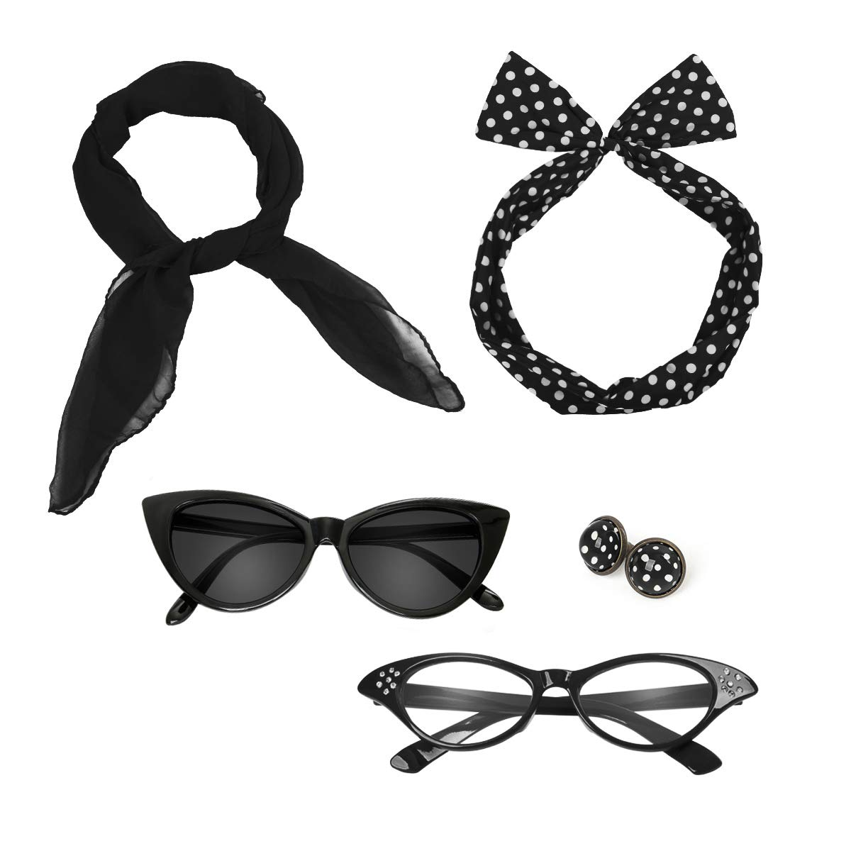 7dbee905138 Amazon.com  Retro 50 s Costume Accessories Set Polka Dot Chiffon Scarf Cat  Eye Glasses Bandana Tie Headband   Earrings Girls Women Ladies Dress up ( Black)  ...