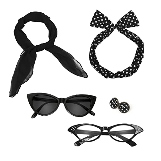 9eafeab625 Retro 50 s Costume Accessories Set Polka Dot Chiffon Scarf Cat Eye Glasses  Bandana Tie Headband