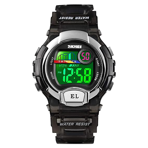 Relojes Deportivos para Niños Niña Juvenil Digitales LED de Colores Redondos Caucho 5 ATM Water Resistant Alarma Deportivo Futbol: Amazon.es: Relojes
