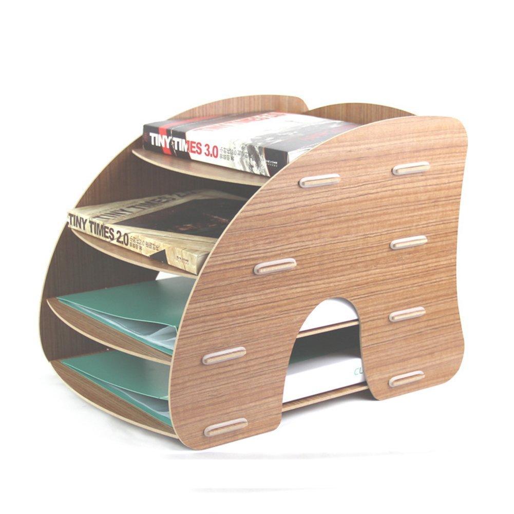 Gossip Boy portaoggetti, vassoio, portalettere, organizer da scrivania a 4livelli staccabili, in grano di legno, di design, formato A4, per l'ufficio Brown per l' ufficio Brown generic