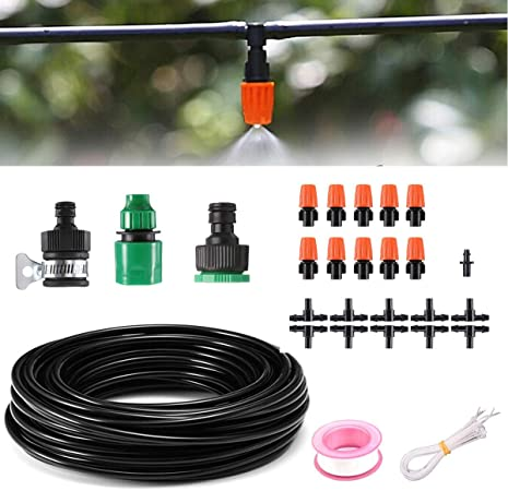 10M Micro Irrigation Fitting Pipe Barbed Garden Watering Mister Connector Plant