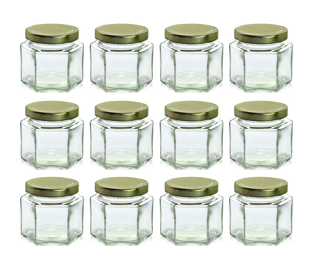Amazon Chefland 12 Piece 4 Oz Hexagon Glass Jars For Jam